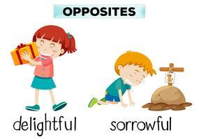 Englisches entgegengesetztes Wort von entzückendem und traurigem vektor