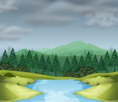 Bergscen med flod vektor