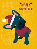 porträtt av fransk bulldogg i santa custume, glatt julkort vektor