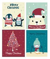 uppsättning jul söt kort