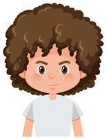 Eine lockige Frisur eines brünetten Jungen vektor