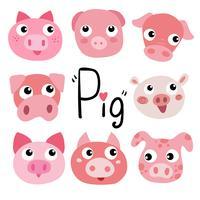 Schwein-Charakter-Vektor-Design vektor