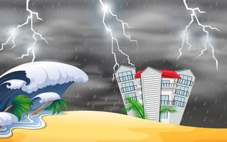 Naturkatastrophe in der Nähe des Gebäudes vektor