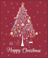Julgran linje glatt julkort vektor