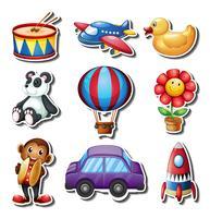 Set med olika typer av leksaker