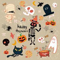 lycklig Halloween clip art tecknad set vektor