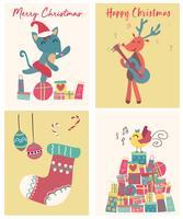 samling av söt platt vektor julkort