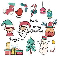 samling av söt klotter jul ikon vektor