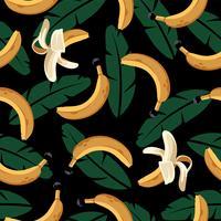 Bananen-nahtloses Muster mit Blättern vektor