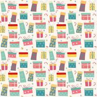 doodle färgglada presentförpackningar mönster sömlös vektor