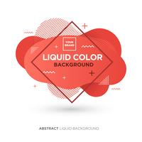 Abstrakte flüssige lebende korallenrote Farbfahne mit Linie Rahmen und Marke, die Logo platziert