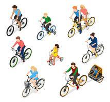 Cykel Riders Teckenuppsättning vektor