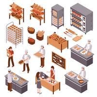 Isometrische Bäckerei Set vektor
