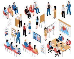 Business Utbildning och Coaching Isometric Ikoner Set