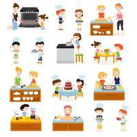 tecknade barn matlagning samling vektor