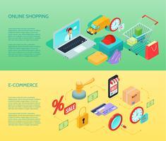 Shopping E-handel Banner Horisontell Isometrisk