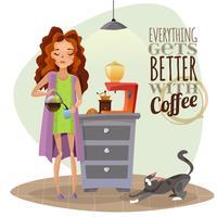 Morgonuppvaknande med kopp kaffe