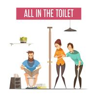 Warteschlange am Toiletten-Konzept des Entwurfes