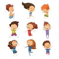 Set av söta tecknade hoppande barn