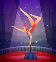 Schlankes Mädchen, das akrobatische Übung durchführt vektor