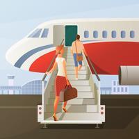 Ombordstigning i flygplansammansättning vektor