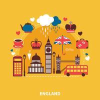 England Landmärken Design Concept vektor