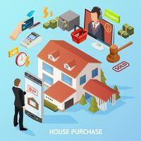Isometrischer Hauskauf-Hintergrund