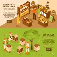 Honey Yard Isometric Banner eingestellt vektor
