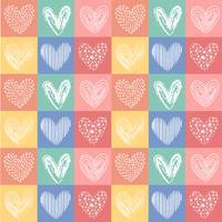 vektor handgjorda hjärta linje vintage färgmönster sömlösa