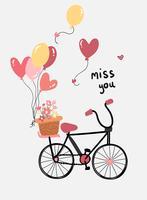 flaches Design der Liebeskarten-Vektorhand gezeichnetes Fahrrad mit Blumen- und Herzballonen