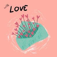 vintage pastellblått kuvert kärlek med hjärtan gräs