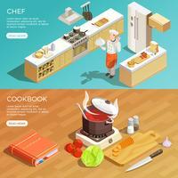 Küchen-Kochbuch-Banner eingestellt vektor