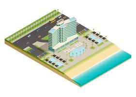 lyxhotell byggnad isometrisk komposition