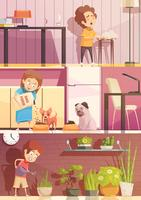 Kinder, die Karikatur-Fahnen-Satz säubern vektor