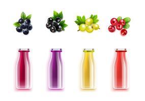 berry juice realistisk uppsättning vektor