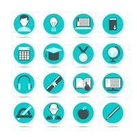 lära sig platt ikonuppsättning