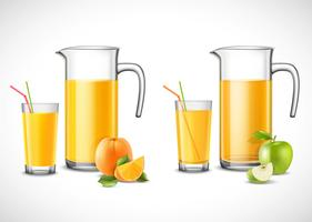 Krüge mit Apfel und Orangensaft