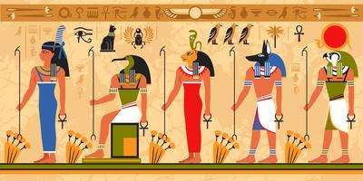 Färgat gränsmönster på egypt tema