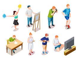 Teenager-Hobbys-Charaktersammlung vektor