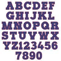 blått polka dot alfabet