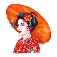 Porträtt av vacker japansk dam