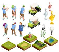 Golffärgade isometriska dekorativa ikoner vektor