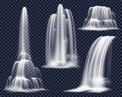 Realistiska vattenfall på transparent bakgrundssats