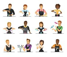 Set of Cartoon Bartender Characters