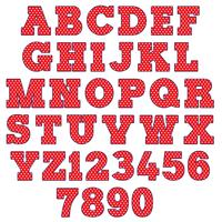 rött polka dot alfabet