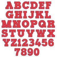 rött polka dot alfabet vektor