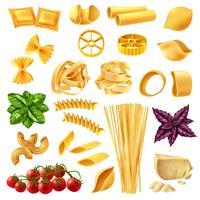 pasta realistiska uppsättning vektor