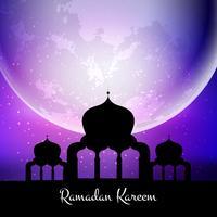 Ramadan Kareem-Hintergrund mit Moschee gegen Mond vektor