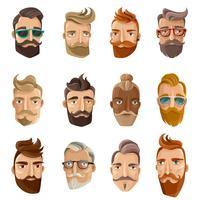 hipster barbershop tecknad folk set
