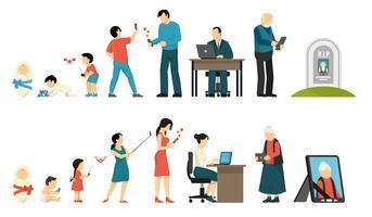 Generationer och Gadgets Sammansättning vektor